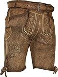 kurze Herren Lederhose Rudl mit Gürtel von Maddox, Größe:48;Farbe:natur - antik