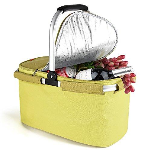 YONOVO Picknickkorb Kühltasche 22L Isolierte faltbare für Picknick, Camping, Grill, Strand, Park (Lime)