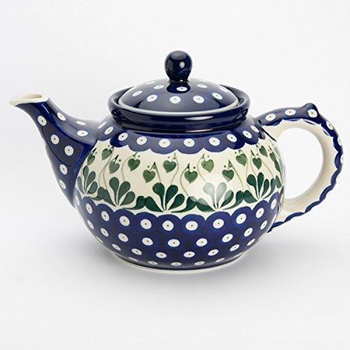 Polish Pottery Large Teapot Love Leaf - - 14.5cm H X 16cm W X 25cm L (Including Handle And Spout)
