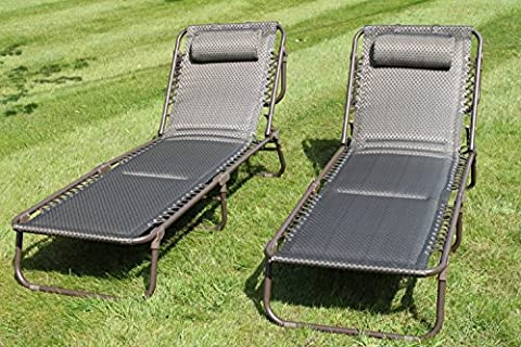 SET OF 2 Luxury Padded Lay Flat Garden Sun Loungers in Brown Tweed Weatherproof Textoline