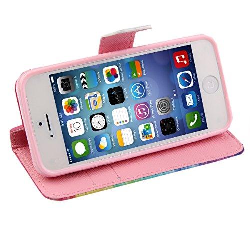 iPhone 5C Hülle, ISAKEN iPhone 5C Hülle Muster, Handy Case Cover Tasche for iPhone 5C, Bunte Retro Muster Druck Flip PU Leder Tasche Case Hülle im Bookstyle mit Standfunktion Kartenfächer mit Weich TP Rainbow Dreamer