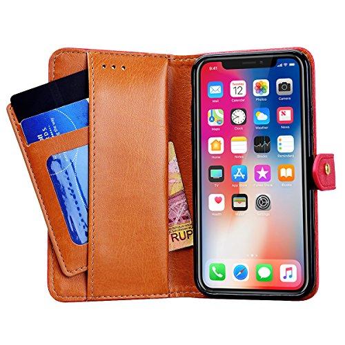 GrandEver Leder Handyhülle für iPhone X Wallet Case Brieftasche Schale Tasche Folio Flip Cover Schutzhülle mit Standfunktion Kreditkarte Magnetverschluss - Hellbraun Rot
