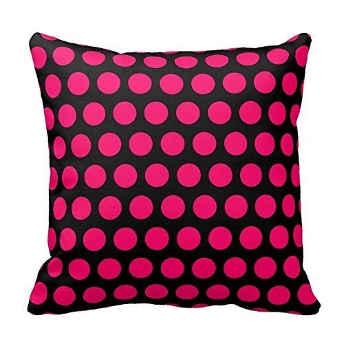 WITHY Black and Hot Pink Polka Dots Design Throw Pillow Cover Case Decorative Square for Home Sofa Two Sides,Cover Size:20 x 20 Inch(50cm x 50cm)