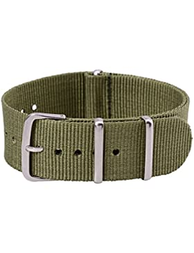 22mm Herren Damen Armeegruen Nylon Uhrarmband Uhrenarmbänder Uhrband Watch Band Watch Strap Uhr Unisex Dornschließe