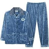 JIADONG Nuevo otoño/invierno franela ropa de hombre pijamas polar coral grueso tamaño establece l XL XXL XXXL , days blue , l