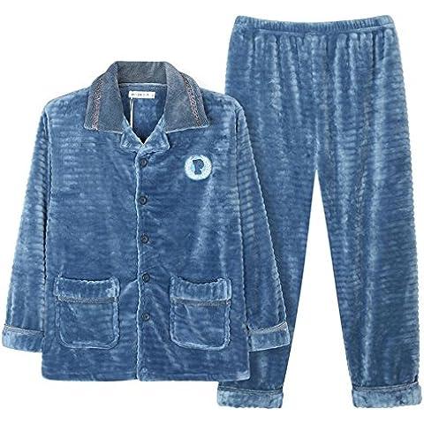 JIADONG Nuevo otoño/invierno franela ropa de hombre pijamas polar coral grueso tamaño establece l XL XXL XXXL , days blue ,