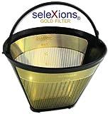 SeleXions Kaffee Goldfilter mit Titan antihaft Hartschicht 6-12 Tassen, Kaffeefiltergröße 1x4 mit Füllstands- und Tassenanzeige