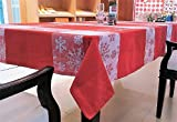 Home Matters Red White Snow Flake Abstract Table Cover 6 Seater - Size 150X210Cm