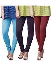 Limeberry Women's Cotton Legging Pack of 3 (LB-3PCK-LEGG-CMB-1_Multicolor)