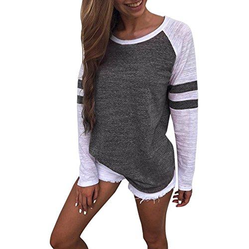 Design Frauen Mode (Damen Bluse ❤DEELIN New Arrival Design Mode Elegante Frauen Damen Langarm Splice Bluse Tops Kleidung T-Shirt (M, Dunkelgrau))