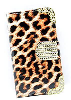 Iphone 4 / 4s - Brown Glossy Leopard Print Design PU Leather Diamante Gold Buckle and Trim Wallet Case - Accessories for Mobile Phones