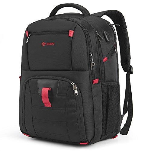 CoolBELL Laptop-Rucksack, 43,9cm (17,3 Zoll), Computerrucksack mit USB-Port, wasserdicht, für Arbeit, Wandern, für Dell Alienware Series/HP/Lenovo/Acer schwarz Schwarz  17.3 Inches