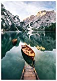 Panorama Tableau Lac de Braies Italie 70 x 50 cm | Imprimée sur Toile de Grande...