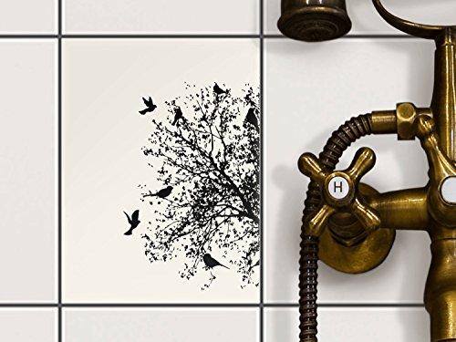 Fliesen-Folie | Dekor-Sticker Aufkleber Folie Küchenfolie Bad-Fliesen Wand Deko | 15x20 cm Design Motiv Tree and Birds 2 - 1 Stück