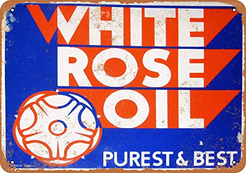OURTrade 12 x 16 Metal Sign - White Rose Oil - Vintage Look Antique Rose Farm