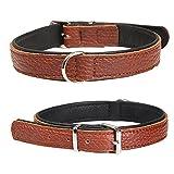 Softlederhalsbänder Duo Halsumfang: 37-43 cm Hundehalsband warmes extra-Weiches Doppellagiges Echtleder in Braun reißfestes fellfreundliches Lederhalsband