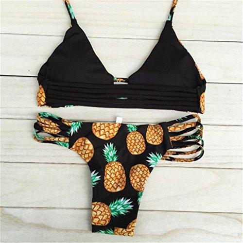 Bikini Donne Set Ananas Costume Da Bagno Con Schienale Bikini Brasiliano Monokini Costumi Da Bagno Monokini Costume Da Beachwear Set Swimwear Spiaggia Estate Pezzi Fascia Vita Alta Nero
