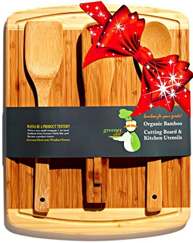 Bambus Schneidbrett & Cheese Board Warming Geschenke Set - Für Mutter-Tagesgeschenk, Hochzeitsgeschenk, personifizierte Geschenke & Brautparty-Geschenk-Idee -3 Bonus Utensil Adams Salat