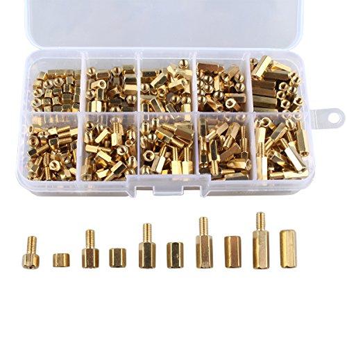 Haljia 300 pcs M3 4-12 mm en cuivre Laiton hexagonale Colonne piliers Boulons pour circuit Spacer PCB Board Écrou Vis hexagonale ronde seule Tête Cylindrique