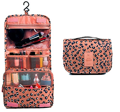 Bllomsem Beauty Case da Viaggio makeup bag viaggio Borsa da toilette cosmetica viaggio Borsa da trucco Borsa da viaggio portatile con gancio appendibile Sacchetto di Toeletta per donna -Leopard Brown
