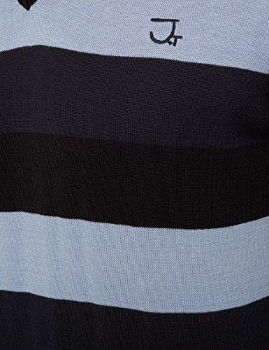 James Tyler Pull-over rayé avec col en V pour homme, matière douce et esthétique Noir