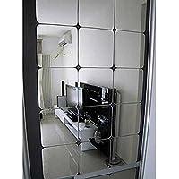 12 Stück Spiegelfliesen Selbstklebend, VIGORFUN Abgerundete Ecke Spiegel Aufkleber Wandspiegel zum Wanddekoration (Silber, 15 x 15 cm)