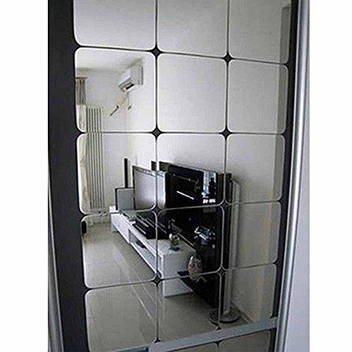 VIGORFUN 12 Stück Spiegelfliesen Selbstklebend, Abgerundete Ecke Spiegel Aufkleber Wandspiegel Zum Wanddekoration (Silber, 15 x 15 cm)