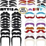 DecoTiny Lot de 60 Fausses Moustaches Barbes Sourcils Auto-adhésifs Déguisements de Fête Autocollants pour Enfants et Adultes