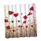 Sharplace Charming Scenery Design Shower Curtain Home Hotel Room Polyester Panel Drape - Red Flora, 180cm