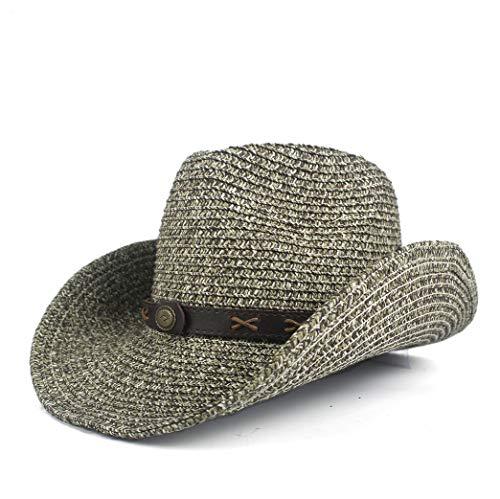 MUJUN 2019 Mode Cowboyhüte for Männer/Frauen Sommer Stroh Cowgirl Party Kostüm Crimpen Westlichen Hut Outdoor UV Schutz Breiter Rand Sonnenhut (Farbe : Grau, Größe : 56-58)