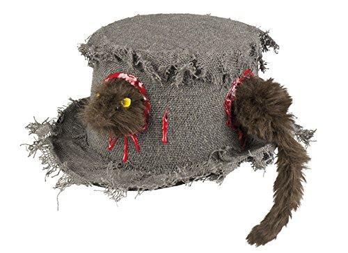 erdbeerclown - Halloween Kostüm Blutiger Stoff Hut mit Ratte Erwachsenen Kopfbedeckung, Mehrfarbig