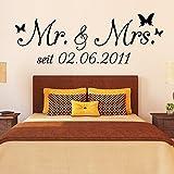 Wandtattoo Loft Wandaufkleber Mr. & Mrs. mirt Ihrem persönlichen WUNSCHDATUM/ Wandsticker Hochzeit Hochzeitstag Geschenk