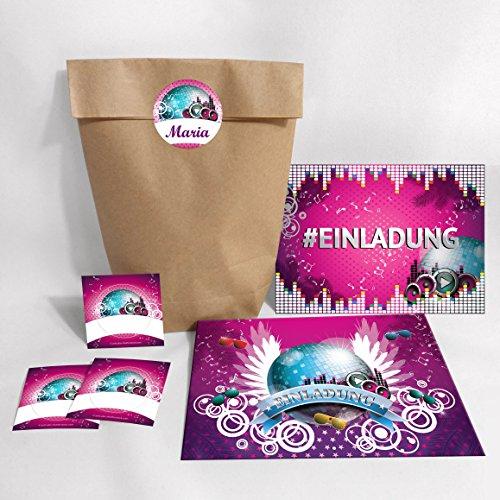 12-er Set Einladungskarten, Umschläge, Tüten, Aufkleber Geburtstag Hashtag / Kinder Erwachsene / #Einladung / Disco-Kugel (12 Karten + 12...