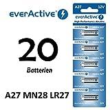 20 x A27 12V everActive Alkaline-Batterien A27 27A LR27A MN27 L828 Fernbedinung