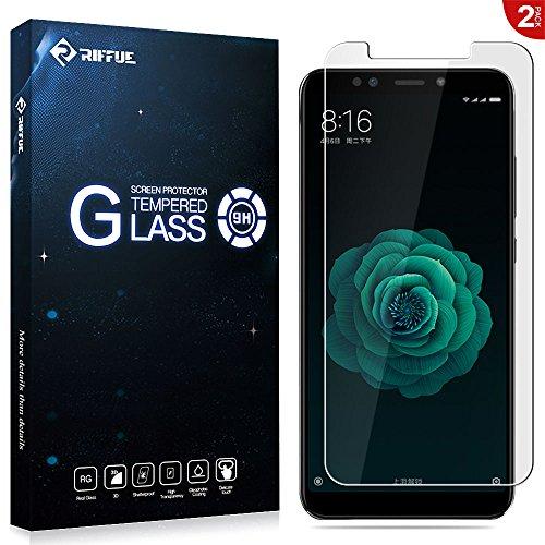RIFFUE Xiaomi Mi A2 Panzerglas Schutzfolie, Qualitäts Kristallklares 9H Gehärtetes Glas 3D Touch Kompatibler Tempered Glass Folie Film für Xiaomi Mi A2 / Mi 6X 5.99-2 Stück