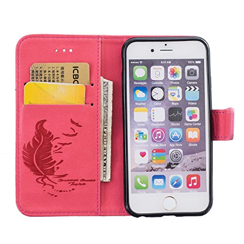 SainCat Coque Etui pour Apple iPhone 6s Cover Bumper,Anti-scratch Cuir Dragonne Portefeuille PU Cuir Etui Relief fille papillon Housse pour iPhone 6,Etui de Protection PU Leather Case Bling Diamond Br Feuille de plume-rouge clair