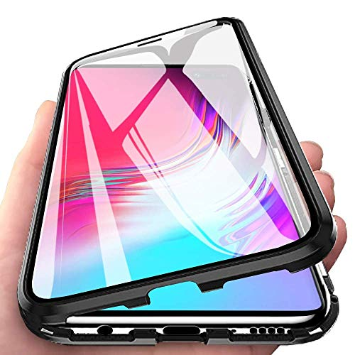 Yichxu Samsung S10 5G Hülle Magnet, Magnetische Adsorption Handyhülle für Samsung Galaxy S10 5G, Einteiliges 360 Grad Gehärtetes Glas Schutzhülle Dünn Panzerglas Durchsichtige Case Cover, Schwarz
