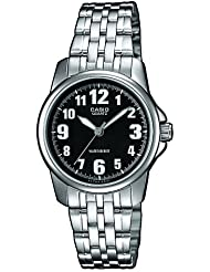 CASIO LTP-1260PD-1B - Reloj de cuarzo, para mujer, color negro y plateado
