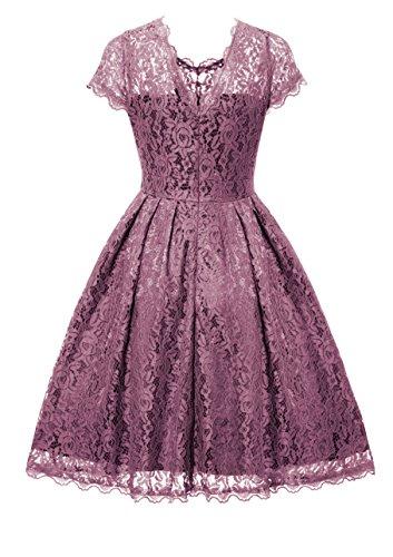 Gigileer Elegant Damen Kleider Spitzenkleid Cocktailkleid Knielanges Vintage 50er Jahr hochzeit Party Lila