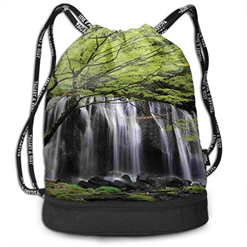 HLKPE Waterfalls Surrounded by Rocks and Trees Picnic Drawstring Bag Backpack Bundle Backpack -