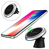 MoKo Qi Wireless Charger Stand, Premium 3-Coil Charging Pad Holder Fit Samsung Galaxy S6 / S6 Edge / S6 Edge+ / S7 / S7 Edge/Note 5 And Other Qi-Enabled Devices, AC Adapter Included, Black