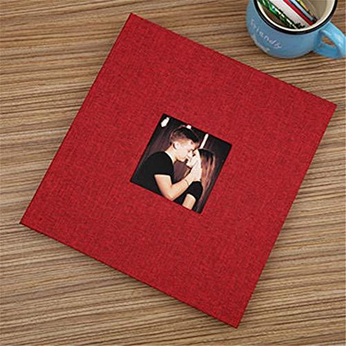 MOGEYX Album Handmade Scrapbook Alben Leinen Cover DIY/Hochzeit Fotoalben Scrapbook Selbstklebende Bilderalbum klebrige Art Home Decor, rot (Süße Rote Binder)