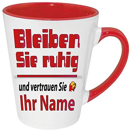 Namenstasse Latte Becher Rot Ruhig bleiben zb. mit Christian bedruckt. Jeder Name ist verfügbar. Einfach Anpassen klicken und ihren Namen eingeben.