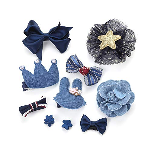 FORCINA pour enfants, Cute Baby Girl Kid cadeaux accessoires pour cheveux Arcs Clips Fourches Lot de barrettes, barrettes pour cheveux Arcs Barrettes Lot de barrettes 10pcs Dark blue