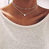 Jovono Fashion Multi - Layer Necklace with Lover Choker For Women and Girls (Silver)