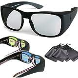 2 Spieler Gaming Splitscreen Polfilter Überziehbrillen - Für Brillenträger oder ohne Brille - kompatibel mit Dual Play von LG, Fullscreen Gaming von Philips, SimulView von Sony und Dual Gaming von Grundig (passive 3D TVs, keine Shutterbrillen) - mit Brillenbeuteln und Putztüchern - gleiche Technik, aber keine 3D Brillen