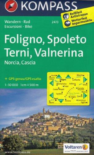 Foligno, Spoleto, Terni, Valnerina (Ombrie, Italie) 1:50K carte topographique de randonnée KOMPASS # 2473