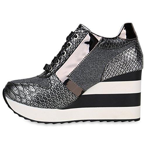 Stiefelparadies Damen Sneaker Wedges Sportschuhe Schnurer Glitzer