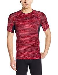 Under Armour UA HG Armour Printed SS Camiseta Deporte, Men, Rojo, MD