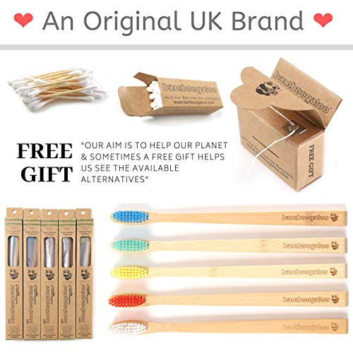 BAMBOOGALOO Organic Bamboo Toothbrushes - 5 Pack with Bamboo Cotton Buds & Dental Floss Gift. Premium UK Design, Natural Wooden Toothbrush - Medium Firm Bristles. Eco-Friendly, Plastic-Free Packaging